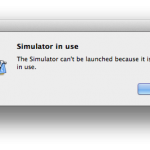 """The Simulator can't be launched because it is already in use."""